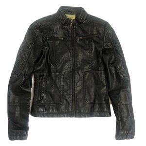 Maralyn & Me Vegan Ribbed Leather Jacket Small Blk